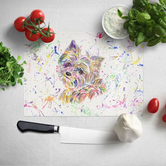 Glass worktop saver/chopping board (Yorkie)